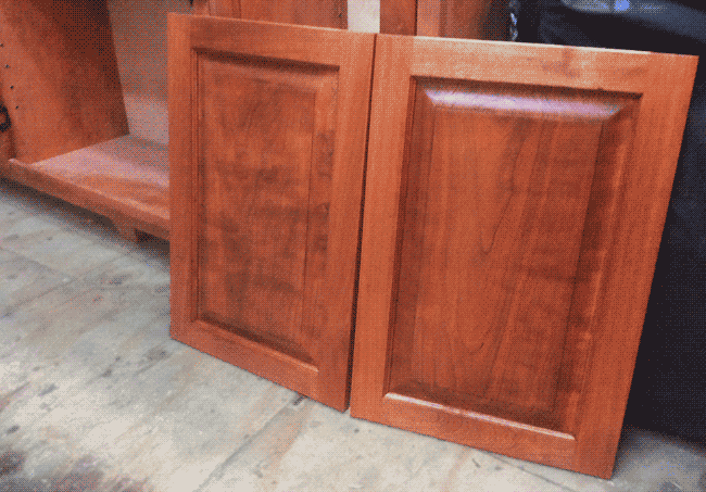Cherry Straight Raised Cabinet Panels Stained Grain